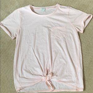 J. Crew tie front tee - blush pink